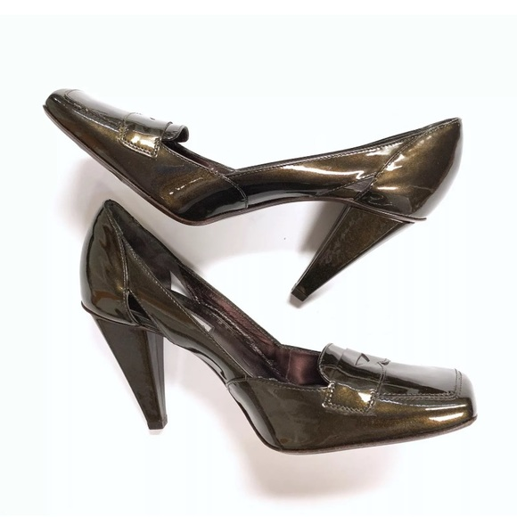 6b3b9d73140e Via Spiga Cammy Copper Patent Heel Square Toe Pump